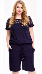 Overalls L-5XL Size Sexy Lace Chest Hollow Large Size Jumpsuit Summer Solid Color Waist lace Wome