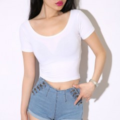 round neck fashion T shirt woman fun white T shirt star with the same paragraph casual comfort co