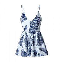 Summer Floral Printed Women Short Jumpsuits Playsuits Deep V-neck Sling Wide Legs Female Bodysuit