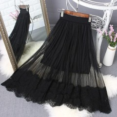 Black White Long Tulle Skirt Summer Pleated Skirts Womens Sexy Maxi Skirt