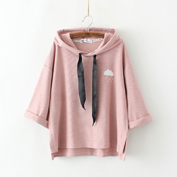 2017 Autumn New Japan Style Women Cute Casual Solid Color Hoodies O-Neck  Pullovers Half 7cc80aca48
