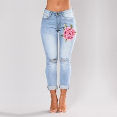 Plus Size Blue High waist Pencil Ripped Floral Hole Jeans Woman Stretch Skinny Vintage Denim Pant