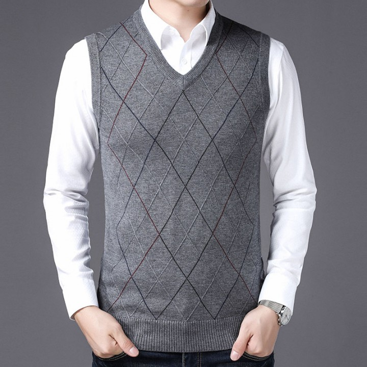 a73b7d57f2 Brand Men s Clothing V-neck sleeveless Men s Sweater Autumn Men s Business  Casual Knit Vest High