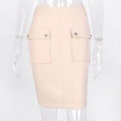 Vintage Pockets Skirts Women 2018 Summer New Mini Wrap Skirt Asymmetrical Casual Zipper A-Line Sk