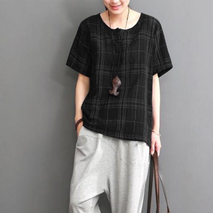 ada9d0da25e 2018 Summer Cotton Linen Shirt Women Vintage Plaid Check Short Sleeve Loose  Blouse Casual Work To
