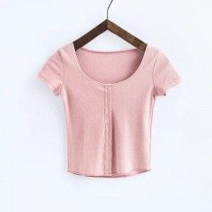 Size Top Tee Women Sexy 6 colors Summer T-shirts Button Elastic Casual Comfortable Large Basic Cr