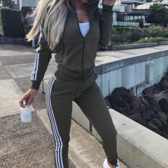 New Tracksuit Women 2 Pieces Set Outwear Sweatsuit Zipper Striped Causal Long Sleeve Sweatshirt +