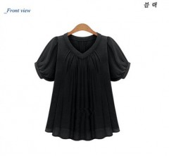 Summer Fashion shirt women tops Short Sleeves Pleat Chiffon Blouse Loose Women Blouses Plus Size
