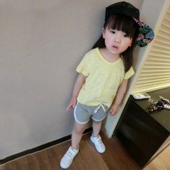 Girls T Shirt Children Clothing Candy Color Summer T-shirts Girls Top Cotton Kids Short Sleeve Ba