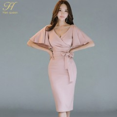 Han Queen Summer Women Bow Sexy Pink Bodycon Pencil Sheath Retro Formal Wedding Evening Party Spe
