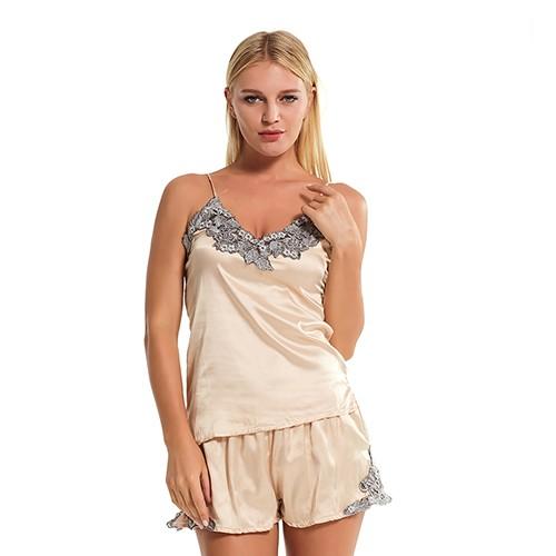 women Sexy Silk Satin Sleepwear two piece Short Lace Pyjama Set V-neck Sleepwear  Summer Home Wear  Product No  507726. Item specifics  Seller SKU aYSusGbpjZ  ... 17b93c449