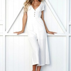 Leg Pants Rompers Calf-Length Buttons Pockets Women Short Sleeve V-neck Jumpsuits Femme Summer Ov