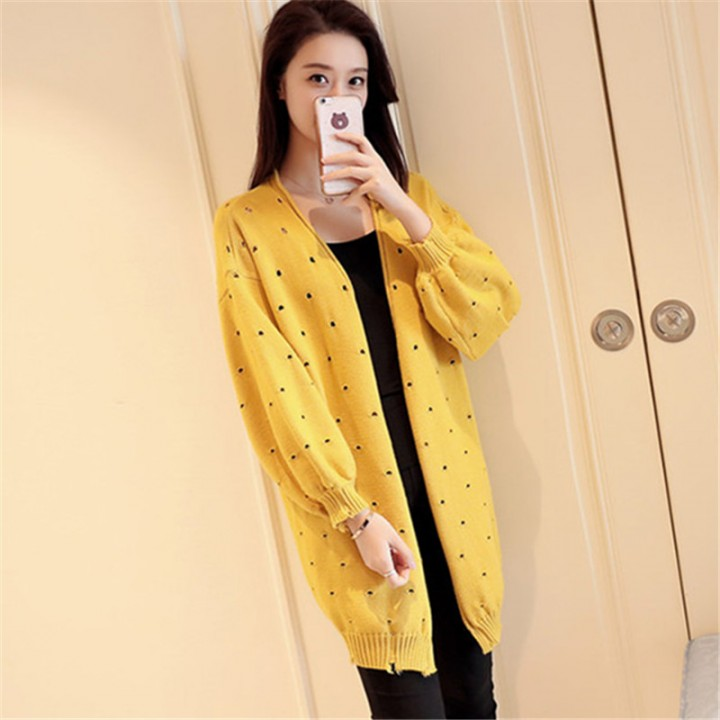 4c4ca25c62da Solid Hollow Out Female Cardigan V-neck Long Sleeve Loose Women Sweater  2018 New Autumn