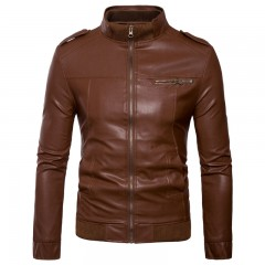leather jackett Motorcycle Leather Jackets Men Solid Business Casual Coats Autumn Winter Leather