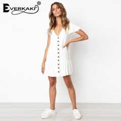 Cotton White Mini Dress Summer 2018 With Buttons Solid Short Butterfly Sleeve Dresses For Women L