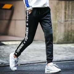 New Men Streetswear Pants Casual Letter Printing Joggers Pants Mens Slim Fit Long Straight Elasti
