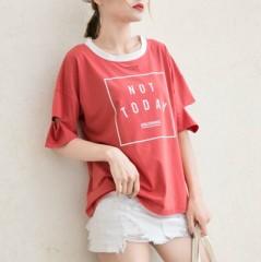 KPOP Women t shirt K pop BTS Bangtan Boys WINGS Letters Print Contrast Colors Cotton t-Shirts k-p