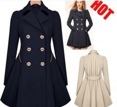 New Fashion Winter Coat Women OL Slim Ruffles Double Breasted Long Jacket For Female Hoodies black S