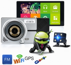 ouchuangb  5.0 inch Capacitive IPS Touch screen  GPS Wifi DVR Dash Cam Sensor the rear lens view