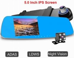 ouchuangbo 5 inch rear mirorr DVR dual camera lens  720P