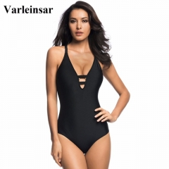 2017 New black swimwear women one piece swimsuit cross back bathing suit swim wear black S