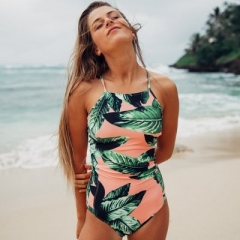 2017 vintage triangle swimsuit see-through one-piece swimwear woman bathing suit Backless suit green s