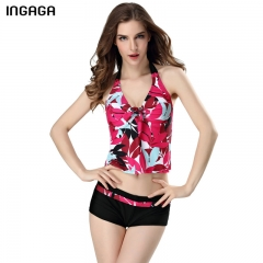 2017 Women Two Piece Swimsuit Sexy Tankini Set Random Printed Halter Padded Beach Bathing Suits red s