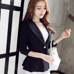 2017 Women Blazers Jackets Slim Blazer Suit Flouncing Long-Sleeved Blazer Small Coat Outwear black s