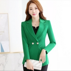 Ladies Long Blazer Women Spring Double Breasted Small Suit Female Suit jacket Work Slim Suit green 2xl