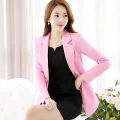 Ladies Long Blazer Women Spring Double Breasted Small Suit Female Suit jacket Work Slim Suit pink s
