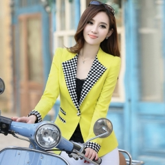 2017 female autumn short paragraph long - sleeved Slim was thin code sweet short jacket suits yellow m
