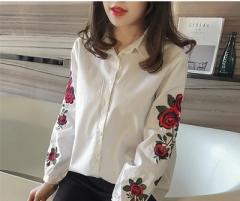 Fashion Shirt Rose Printing White Women Tops Long Sleeve Embroidery Chiffon Blouses Office Shirts white s