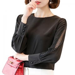 New Women Blouses Shirt Hollow Out Lace Blouse Tops For Shirt Geometry Casual Go To Work shirt black s