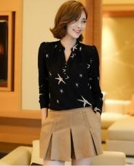 2017 Summer New Arrival Female Long-Sleeve Blouse Women Shirt Chiffon Ruffle Tops Camisa Renda Blusa black s