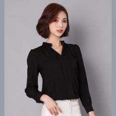 2017 Long Sleeve Elegant Ladies Office Shirts Korean Fashion Casual Slim Women Tops black s