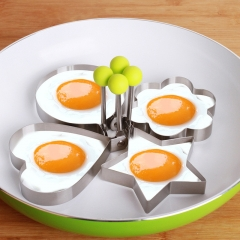 4pcs Egg Shaper Fashion Trendy Heart Star Stainless Steel Egg Mold Kitchen Gadget Tools Cooking random 4pcs