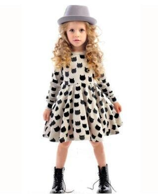 Girl dress cotton long sleeve black stamp elastic pleated Zou comfortable dress stitching girl dress grey 90cm