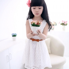 2017 Summer Lace Vest Girls Dress Baby Girl Princess Dress Children Clothes Kids Party Clothing white 150cm