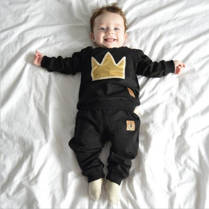 2pcs/set Autumn baby boy pullover long sleeves O-Neck cotton printing Imperial crown Child clothing black 70cm