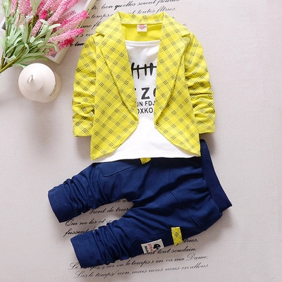 2017 Fashion Boys Formal Clothing Kids Attire For Boy Clothes Plaid Suit In September Toddler Suit yellow 80cm