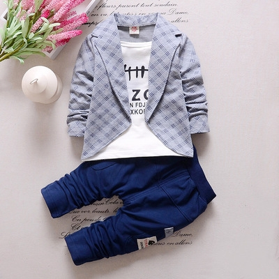 2017 Fashion Boys Formal Clothing Kids Attire For Boy Clothes Plaid Suit In September Toddler Suit grey 90cm