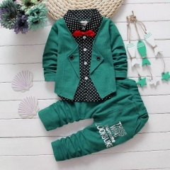 2017 Baby Boys Autumn Casual Clothing Set Baby Kids Button Letter Bow Clothing Sets green 80cm