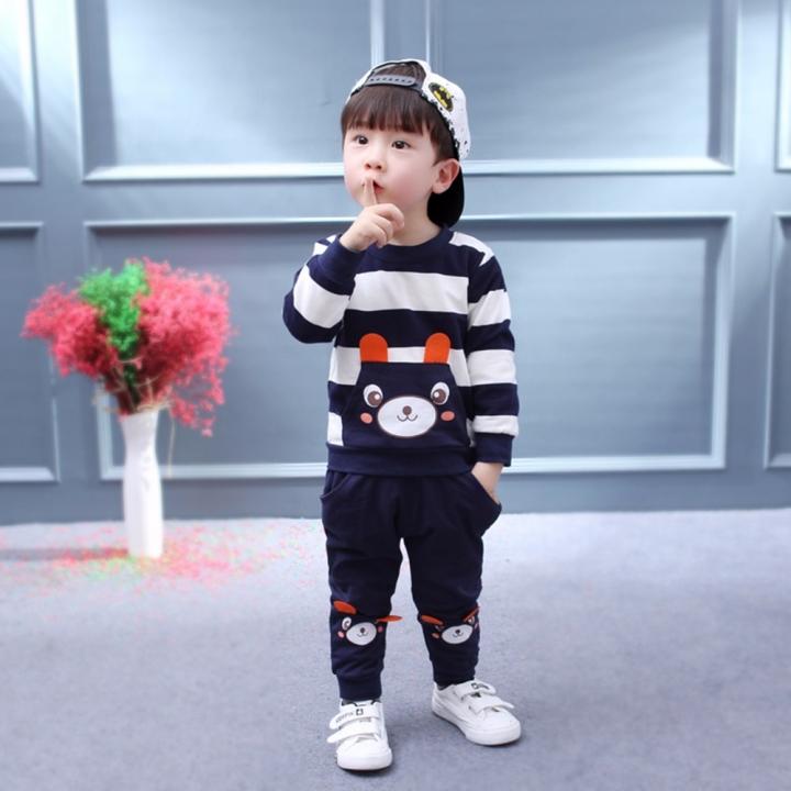 Bear Kids Clothes Baby Clothing Set Toddler Boy Clothing Boutique Children Kids Boys Costume suits black 80cm