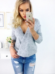 2017 Fashion Sexy Deep V Neck Knitted Pullovers Women Autumn Winter Double Way Wear Sweater grey s