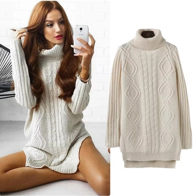 5427e788842645 Warm High Neck Twist Knitted Pullover Sweater Dress Women Side Split Long  Sleeve Autumn Knit Top beige one size: Product No: 263217. Item specifics:  Seller ...