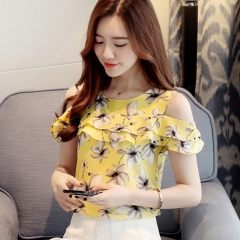 2017 Women Off Shoulder Short Sleeve Blouses Print Floral Chiffon Shirts Casual Ladies Clothing yellow s