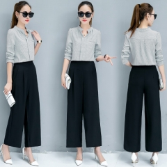 Autumn Work Wear Office Shirts Femme V-neck Long Sleeve Ladies Tops and pants two-piece suit sky blue s