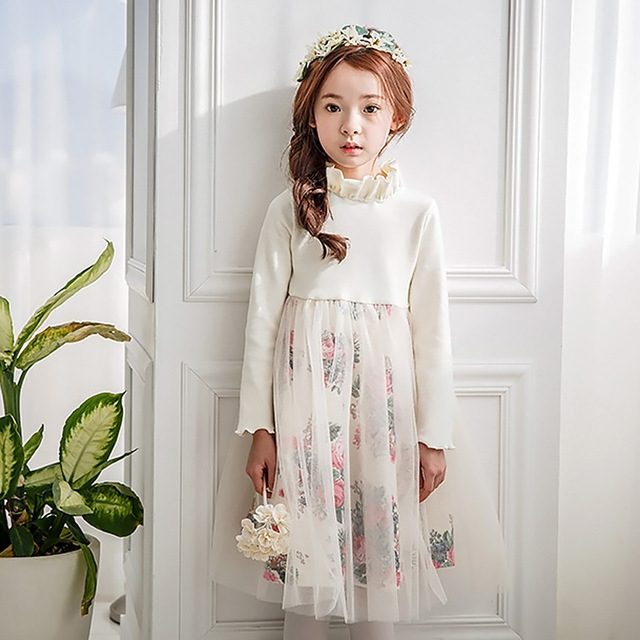 2017 Girl Floral Long Sleeved Autumn Winter Wedding Party Dress Mesh Kids Dress Children Clothing white 110cm