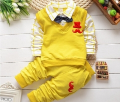 2017 New spring autumn baby boys clothing set cotton boys t-shirts+pants sport suit set yellow 80cm