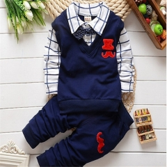 2017 New spring autumn baby boys clothing set cotton boys t-shirts+pants sport suit set navy 110cm